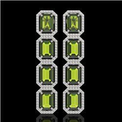 19.44 CTW Tourmaline & Diamond Halo Earrings 10K White Gold - REF-258Y9K - 41591