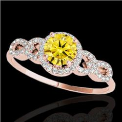 1.33 CTW Certified Si/I Fancy Intense Yellow Diamond Solitaire Ring 10K Rose Gold - REF-213M6H - 353
