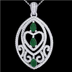 3.50 CTW Emerald & Micro Pave VS/SI Diamond Heart Necklace 18K White Gold - REF-218F2N - 21287