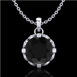 1.5 CTW Fancy Black Diamond Solitaire Art Deco Stud Necklace 18K White Gold - REF-89T3M - 37380