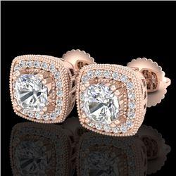 1.25 CTW Cushion Cut VS/SI Diamond Art Deco Stud Earrings 18K Rose Gold - REF-218A2X - 37035