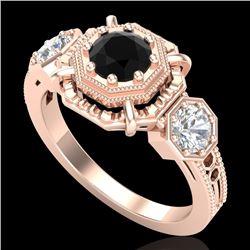 1.01 CTW Fancy Black Diamond Solitaire Art Deco 3 Stone Ring 18K Rose Gold - REF-96T4M - 37465