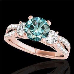 1.75 CTW Si Certified Fancy Blue Diamond 3 Stone Ring 10K Rose Gold - REF-216M4H - 35418