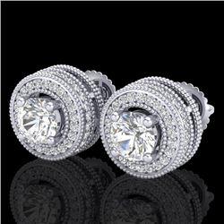 2.09 CTW VS/SI Diamond Solitaire Art Deco Stud Earrings 18K White Gold - REF-254H5A - 37139