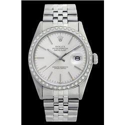 Rolex Men's Stainless Steel, QuickSet, Index Bar Dial with Diamond Bezel - REF-521X6Y