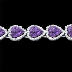 23 CTW Amethyst & Micro Pave Bracelet Heart Halo 14K White Gold - REF-378A5X - 22609