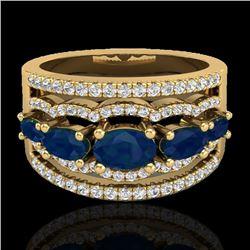 2.25 CTW Sapphire & Micro Pave VS/SI Diamond Designer Ring 10K Yellow Gold - REF-71H3A - 20805