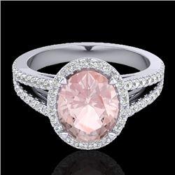 3 CTW Morganite & Micro VS/SI Diamond Halo Solitaire Ring 18K White Gold - REF-86Y2K - 20944