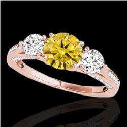 1.75 CTW Certified Si/I Fancy Intense Yellow Diamond 3 Stone Ring 10K Rose Gold - REF-236N4Y - 35357