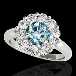 2.85 CTW Si Certified Fancy Blue Diamond Solitaire Halo Ring 10K White Gold - REF-309W3F - 34437