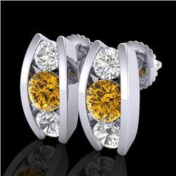 2.18 CTW Intense Fancy Yellow Diamond Art Deco Stud Earrings 18K White Gold - REF-254X5T - 37770