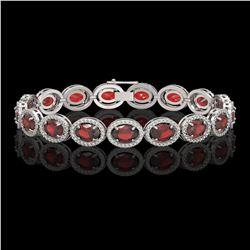 21.98 CTW Garnet & Diamond Halo Bracelet 10K White Gold - REF-247K6W - 40646