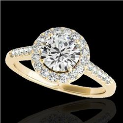 1.5 CTW H-SI/I Certified Diamond Solitaire Halo Ring 10K Yellow Gold - REF-170T9M - 33483