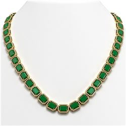 58.59 CTW Emerald & Diamond Halo Necklace 10K Yellow Gold - REF-824T4M - 41332