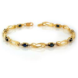 2.52 CTW Blue Sapphire & Diamond Bracelet 10K Yellow Gold - REF-26M5H - 10471