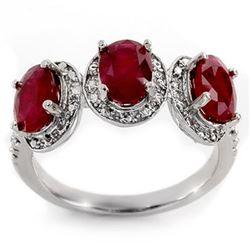 3.08 CTW Ruby & Diamond Ring 10K White Gold - REF-27K3W - 11350