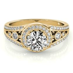 1.15 CTW Certified VS/SI Diamond Solitaire Halo Ring 18K Yellow Gold - REF-218A2X - 26744