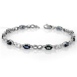 3.51 CTW Blue Sapphire & Diamond Bracelet 18K White Gold - REF-60F9N - 11487