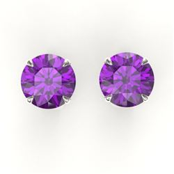 4 CTW Amethyst Designer Inspired Solitaire Stud Earrings 18K White Gold - REF-29X3T - 21809