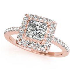 1.5 CTW Certified VS/SI Princess Diamond Solitaire Halo Ring 18K Rose Gold - REF-381K8W - 27145