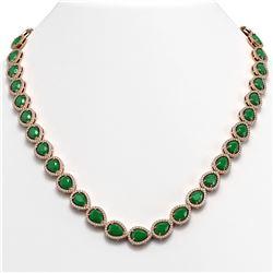 45.93 CTW Emerald & Diamond Halo Necklace 10K Rose Gold - REF-674X2T - 41043