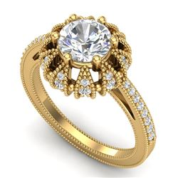1.65 CTW VS/SI Diamond Solitaire Art Deco Micro Pave Ring 18K Yellow Gold - REF-427M3H - 36994