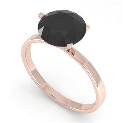 2.0 CTW Black Certified Diamond Engagement Ring Martini 14K Rose Gold - REF-49K3W - 38340
