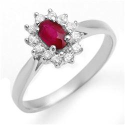 0.51 CTW Ruby & Diamond Ring 18K White Gold - REF-27F3N - 12620