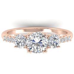 1.5 CTW Certified VS/SI Diamond Art Deco 3 Stone Ring 14K Rose Gold - REF-215Y3K - 30460