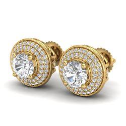 2.35 CTW VS/SI Diamond Solitaire Art Deco Stud Earrings 18K Yellow Gold - REF-400A2X - 37258