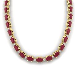 71.85 CTW Ruby & VS/SI Certified Diamond Eternity Necklace 10K Yellow Gold - REF-563W6F - 29516