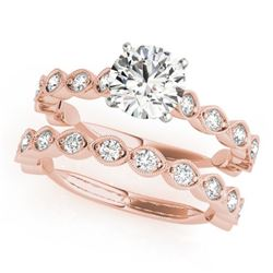2.02 CTW Certified VS/SI Diamond Solitaire 2Pc Wedding Set 14K Rose Gold - REF-402N8Y - 31614