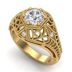 1.07 CTW VS/SI Diamond Solitaire Art Deco Ring 18K Yellow Gold - REF-322A5X - 36919