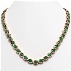 34.11 CTW Emerald & Diamond Halo Necklace 10K Rose Gold - REF-562W9F - 40401