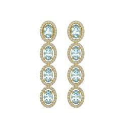 4.68 CTW Aquamarine & Diamond Halo Earrings 10K Yellow Gold - REF-115X6T - 40528
