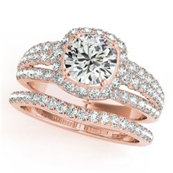 2.19 CTW Certified VS/SI Diamond 2Pc Wedding Set Solitaire Halo 14K Rose Gold - REF-429H3A - 31143