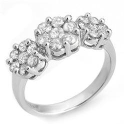 1.25 CTW Certified VS/SI Diamond Ring 18K White Gold - REF-113H8A - 10213