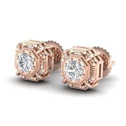 1.11 CTW VS/SI Diamond Solitaire Art Deco Stud Earrings 18K Rose Gold - REF-218N2Y - 36876