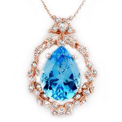 13.84 CTW Blue Topaz & Diamond Necklace 14K Rose Gold - REF-109N6Y - 10083