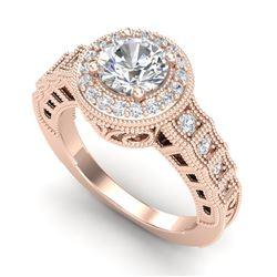 1.53 CTW VS/SI Diamond Solitaire Art Deco Ring 18K Rose Gold - REF-454K5W - 36960