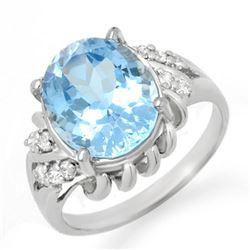 5.22 CTW Blue Topaz & Diamond Ring 10K White Gold - REF-29H3A - 12482