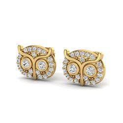 0.35 CTW Micro Pave VS/SI Diamond Earrings 18K Yellow Gold - REF-35H8A - 20091