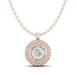 2.11 CTW VS/SI Diamond Solitaire Art Deco Stud Necklace 18K Rose Gold - REF-309X3T - 37086