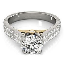 1.36 CTW Certified VS/SI Diamond Pave Ring 18K White & Yellow Gold - REF-227M6H - 28096