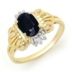 1.04 CTW Blue Sapphire & Diamond Ring 10K Yellow Gold - REF-20A2X - 13256