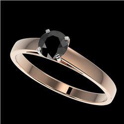 0.50 CTW Fancy Black VS Diamond Solitaire Engagement Ring 10K Rose Gold - REF-19A3X - 32956