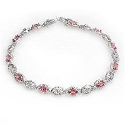 3.83 CTW Red Sapphire & Diamond Bracelet 10K White Gold - REF-44A2X - 14246