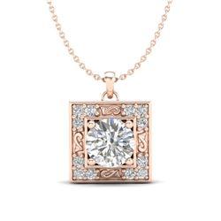 1.02 CTW VS/SI Diamond Solitaire Art Deco Necklace 18K Rose Gold - REF-200A2X - 37272