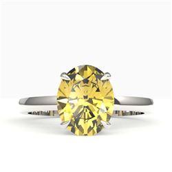 2.50 CTW Citrine Designer Inspired Solitaire Ring 18K White Gold - REF-36X2T - 22058