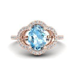 2 CTW Topaz & Micro Pave VS/SI Diamond Ring 10K Rose Gold - REF-32A9X - 20975
